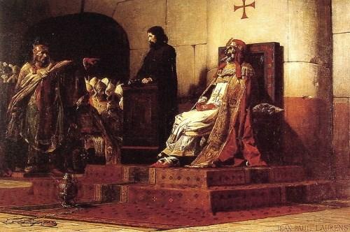 Le pape Formose et Etienne VII, dipinto di Jean-Paul Laurens, 1870.